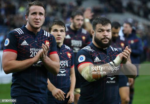 Anthony Jelonchl Antoine Dupont Rabah Slimani of France salute the fans following the autumn international rugby match between France and New Zealand...