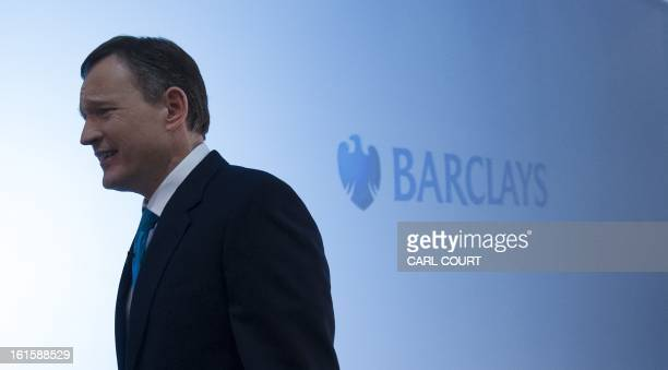 Anthony Jenkins Group Chief Executive of Barclays bank leaves after posing for photographers during an interval in a media conference in central...