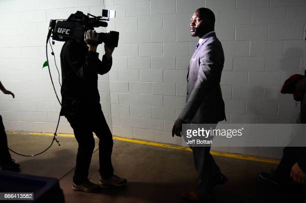 Anthony Johnson arrives backstage during the UFC 210 event at the KeyBank Center on April 8 2017 in Buffalo New York