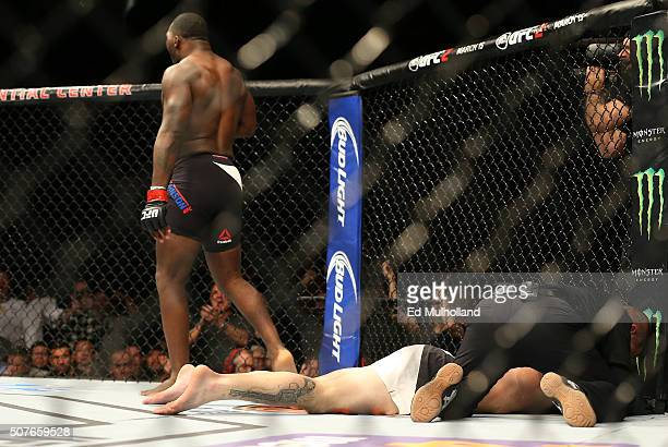 Anthony Johnson celebrates his knockout victory over Ryan Bader in their light heavyweight bout during the UFC Fight Night event at the Prudential...