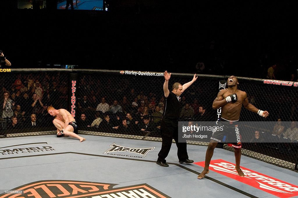 Anthony Johnson (blue/black shorts) def. Tommy Speer (black tight shorts) - KO - :51 round 1 during the UFC Fight Night 13 at the Broomfield Event Center on April 2, 2008 in Broomfield, Colorado.