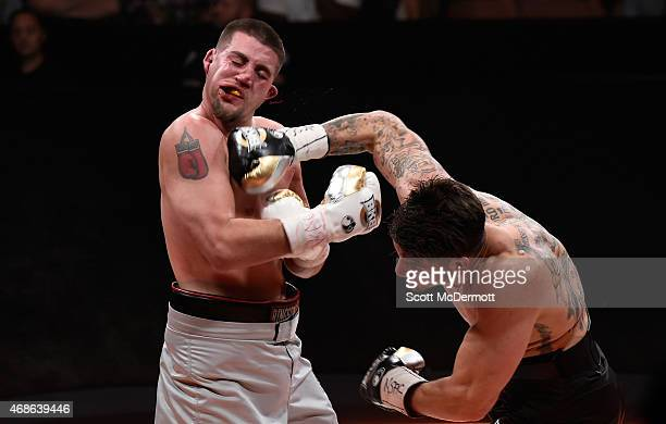 Anthony Johnson fights Joey Montoya during BKB 2 Big Knockout Boxing at the Mandalay Bay Events Center on April 4 2015 in Las Vegas Nevada