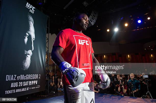 Anthony Johnson holds an open workout for media and fans during the UFC 202 Open Workouts at the Red Rock Casino Resort on August 18 2016 in Las...