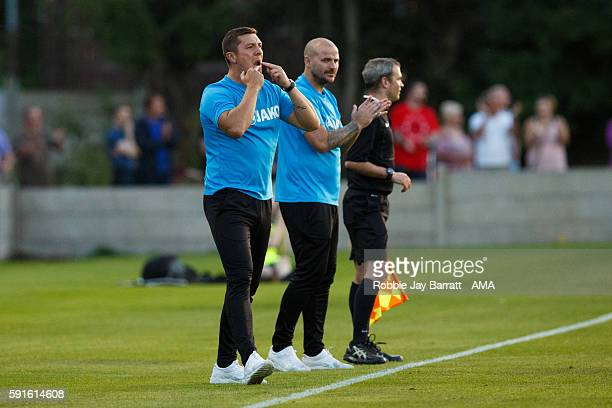 Anthony Johnson Joint Manager / head coach of Salford City and Bernard Morley Joint Manager / head coach of Salford City during the Vanarama...