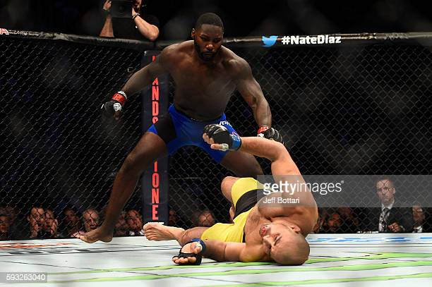 Anthony Johnson knocks out Glover Teixeira of Brazil in their light heavyweight bout during the UFC 202 event at TMobile Arena on August 20 2016 in...