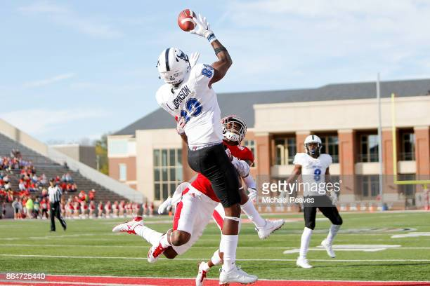 Anthony Johnson of the Buffalo Bulls makes a catch in the endzone for a touchdown against the Miami Ohio Redhawks during the first half at Yager...