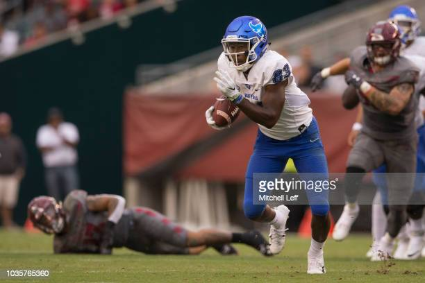 Anthony Johnson of the Buffalo Bulls runs with the ball against the Temple Owls at Lincoln Financial Field on September 8 2018 in Philadelphia...