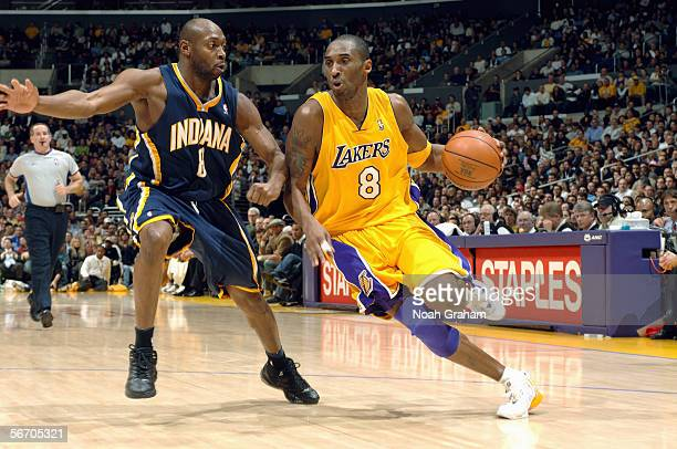 Anthony Johnson of the Indiana Pacers defends against Kobe Bryant of the Los Angeles Lakers during the game on January 9 2006 at Staples Center in...
