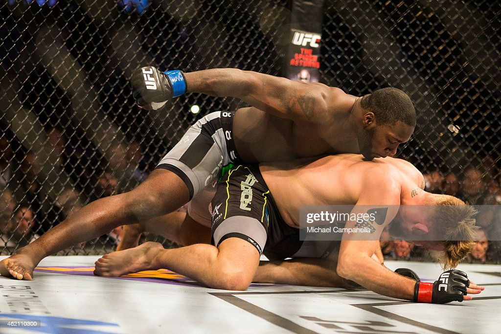 Anthony Johnson of the United States delivers the knockout to Alexander Gustafsson of Sweden during the UFC Fight Night event at Tele2 Arena on January 24, 2015 in Stockholm, Sweden.