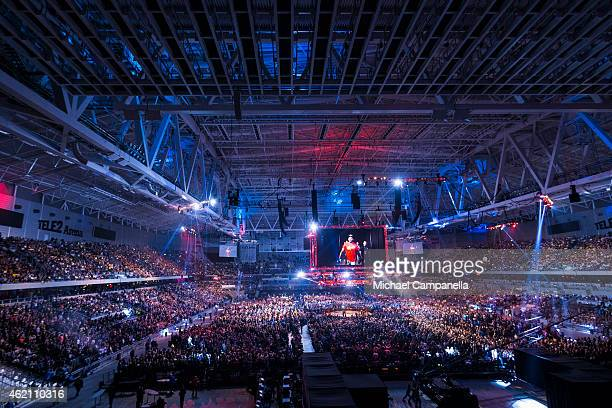 Anthony Johnson of the United States makes his entrance for the main event during the UFC Fight Night event at Tele2 Arena on January 24 2015 in...
