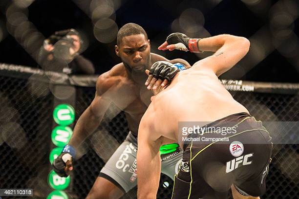 Anthony Johnson of the United States throws a blow at Alexander Gustafsson of Sweden during the UFC Fight Night event at Tele2 Arena on January 24...
