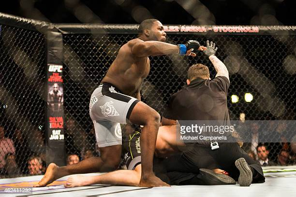 Anthony Johnson of the United States wins over Alexander Gustafsson of Sweden during the UFC Fight Night event at Tele2 Arena on January 24 2015 in...