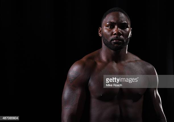 Anthony Johnson poses for a portrait backstage during the UFC 191 event inside MGM Grand Garden Arena on September 5 2015 in Las Vegas Nevada