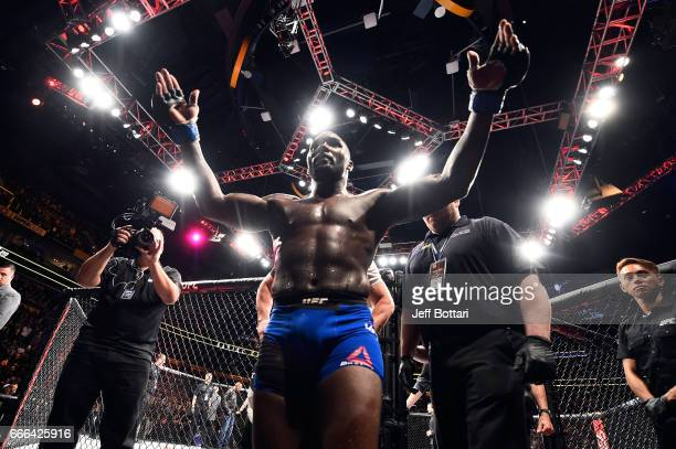 Anthony Johnson reacts in his final moments in the Octagon after announcing his retirement from MMA following his submission loss to Daniel Cormier...