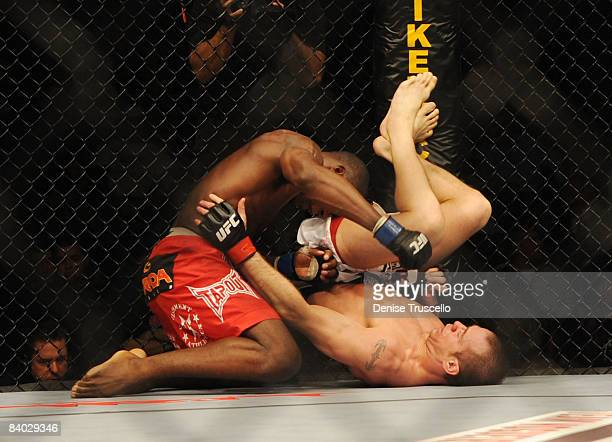 Anthony Johnson red trunks and Kevin Burns fight in the Welterweight bout where Johnson won at UFC Fight Night at The Pearl in The Palms Hotel and...