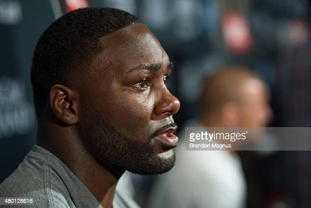 Anthony Johnson speaks to the media during the UFC International Fight Week Ultimate Media Day at MGM Grand Hotel Casino on July 9 2015 in Las Vegas...