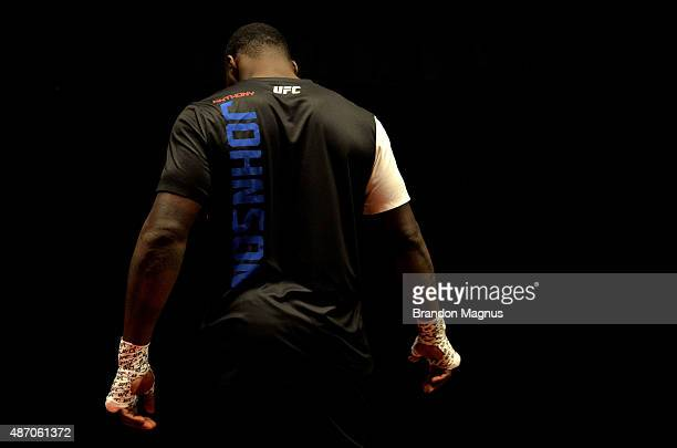 Anthony Johnson warms up backstage during the UFC 191 event inside MGM Grand Garden Arena on September 5 2015 in Las Vegas Nevada