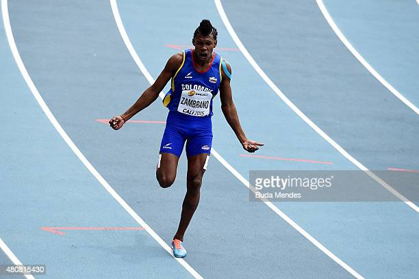 Anthony Jose Zambrano of Colombia reacts after finishing round one of the Boys 400 Meters on day one of the IAAF World Youth Championships Cali 2015...