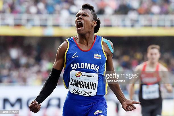Anthony Jose Zambrano of Colombia reacts after running in the Boys 400 Meters SemiFinals on day two of the IAAF World Youth Championships Cali 2015...