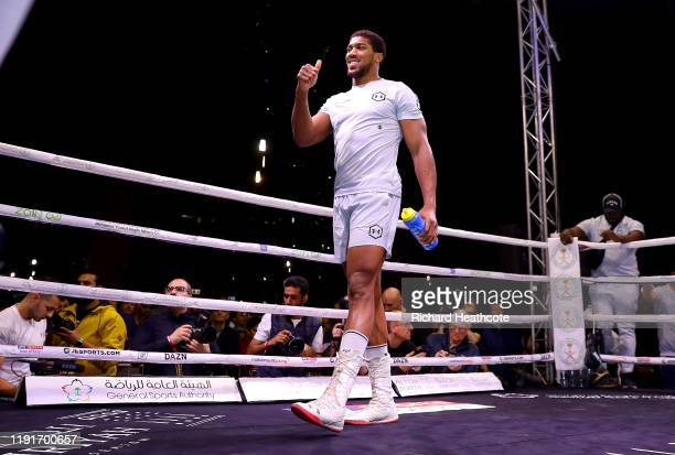 Anthony Joshua acknowledges the crowd after working out ahead of the IBF WBA WBO IBO World Heavyweight Title Fight between Andy Ruiz Jr and Anthony...
