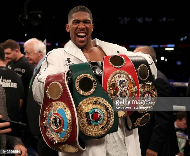 Anthony Joshua after victory over Joseph Parker in their WBA IBF WBO and IBO Heavyweight Championship contest at the Principality Stadium Cardiff