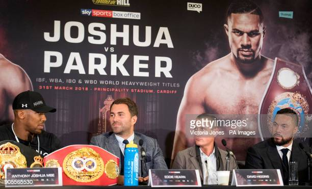 Anthony Joshua alongside his promoter Eddie Hearn and Joseph Parker and his promoter David Higgins during the press conference at the Dorchester...