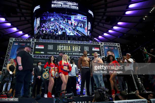 Anthony Joshua and Andy Ruiz during the weigh in at Madison Square Garden New York