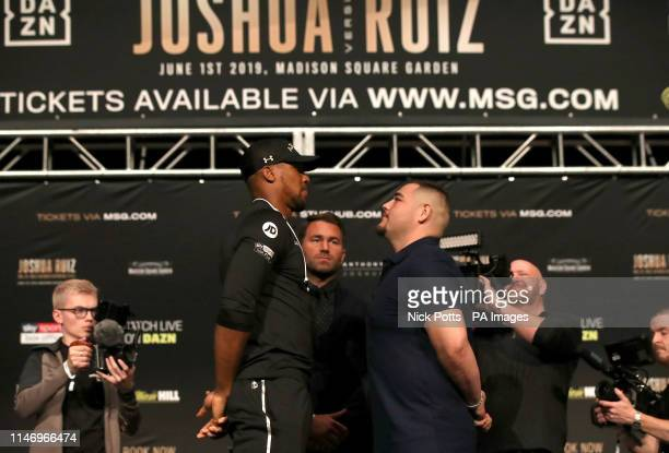 Anthony Joshua and Andy Ruiz Jr during the press conference at the Beacon Theater New York