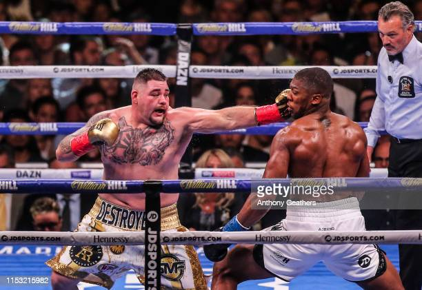 Anthony Joshua and Andy Ruiz Jr fight during their IBF/WBA/WBO World heavyweight championship match at Madison Square Garden on June 1st 2019 in New...