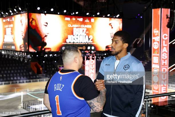 Anthony Joshua and Andy Ruiz Jr inside the Diriyah Arena during the Clash On The Dunes Press Conference at the Diriyah Arena on December 04 2019 in...