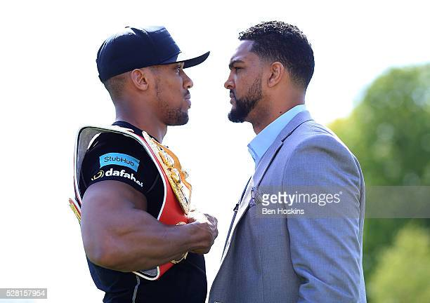 Anthony Joshua and Dominic Breazeale face off during the Anthony Joshua and Dominic Breazeale Press Conference on May 4 2016 in London England