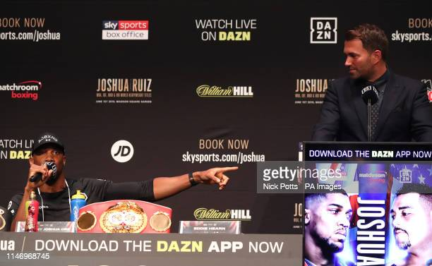 Anthony Joshua and Eddie Hearn during the press conference at the Beacon Theater New York