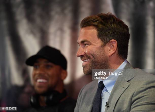 Anthony Joshua and Eddie Hearn face the media during a media opportunity ahead of his World Heavyweight title clash against Kubrat Pulev at...