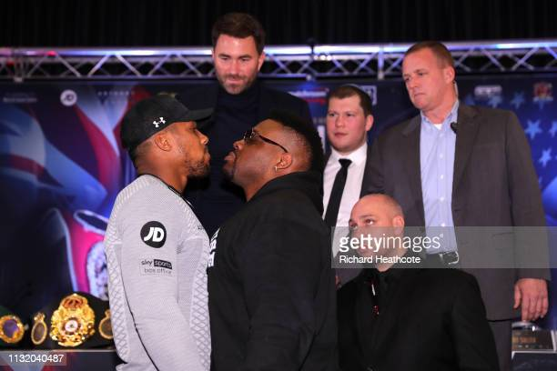 Anthony Joshua and Jarrell Miller square up during an Anthony Joshua and Jarrell Miller Press Conference ahead of their fight in June 2019 for the...