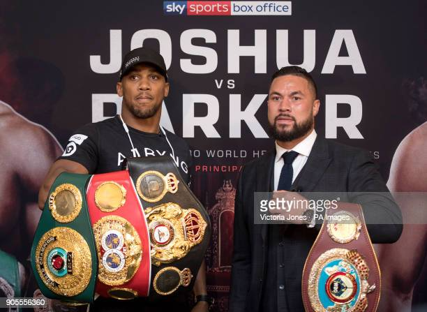 Anthony Joshua and Joseph Parker during the press conference at the Dorchester Hotel London