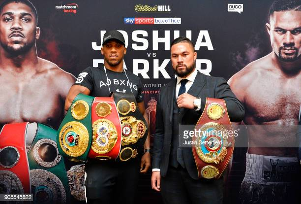 Anthony Joshua and Joseph Parker pose during an Anthony Joshua and Joseph Parker Press Conference at the Dorchester Hotel on January 16 2018 in...