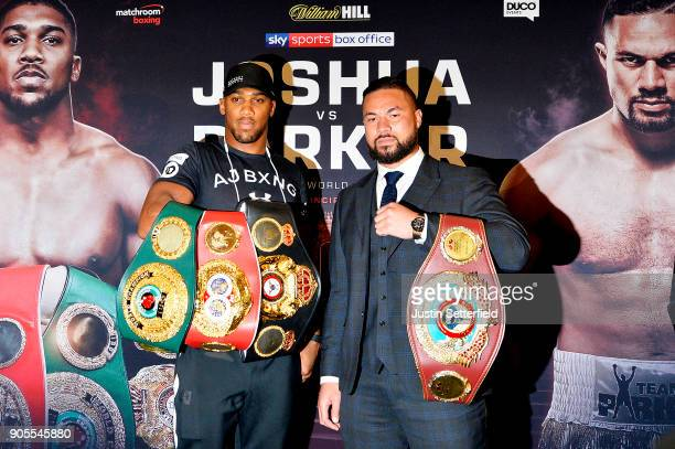 Anthony Joshua and Joseph Parker pose up during an Anthony Joshua and Joseph Parker Press Conference at the Dorchester Hotel on January 16 2018 in...