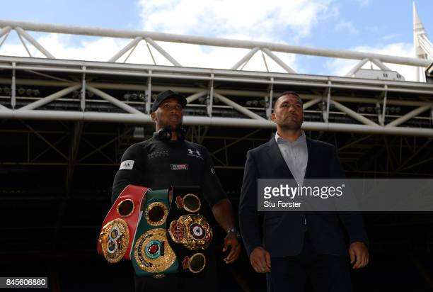 Anthony Joshua and Kubrat Pulev pictured during a media opportunity ahead of their World Heavyweight title clash at Principality Stadium on September...