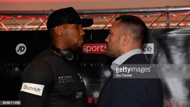 Anthony Joshua and Kubrat Pulev pictured head to head during a media opportunity ahead of their World Heavyweight title clash at Principality Stadium...