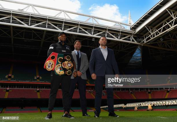 Anthony Joshua and Kubrat Pulev pictured with promoter Eddie Hearn during a media opportunity ahead of their World Heavyweight title clash at...