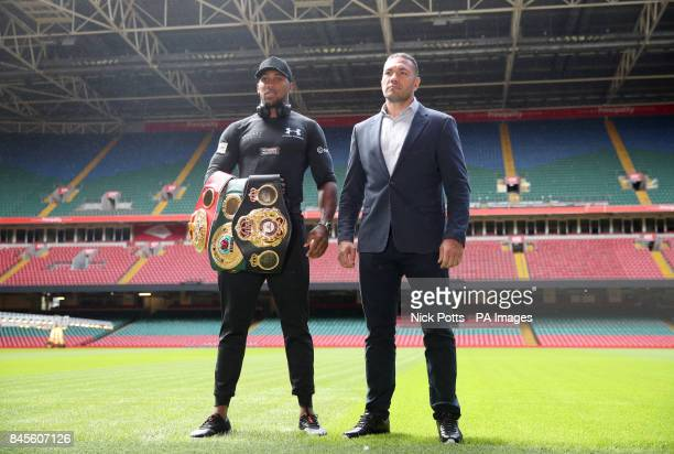 Anthony Joshua and Kubrat Pulev pose for a photo during the press conference at the Principality Stadium Cardiff
