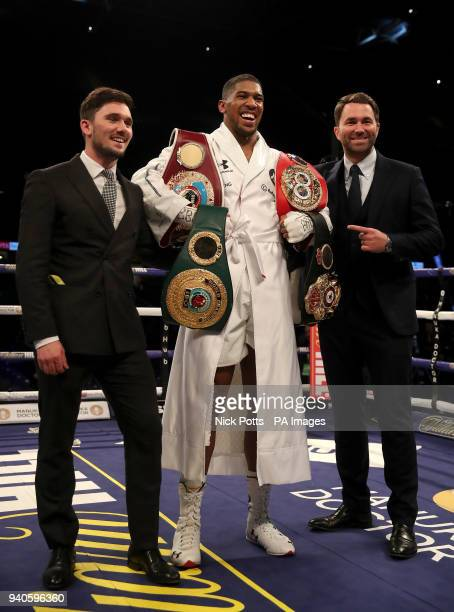 Anthony Joshua and promoter Eddie Hearn after victory over Joseph Parker in their WBA IBF WBO and IBO Heavyweight Championship contest at the...