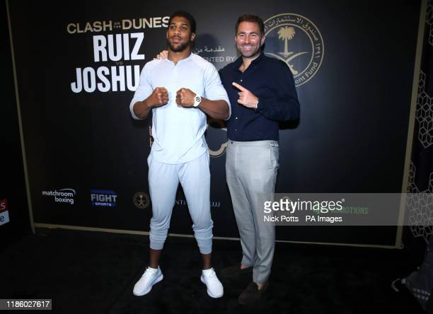 Anthony Joshua and promoter Eddie Hearn at the Centria Mall in Riyadh