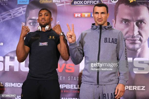 Anthony Joshua and Wladamir Klitschko take part in a press conference for their Super Heavyweight title fight at Sky Sports Studios on April 27 2017...