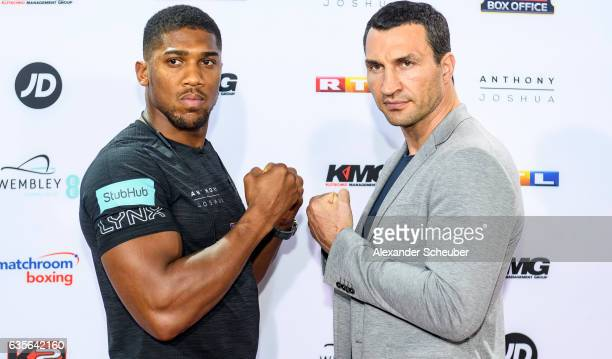 Anthony Joshua and Wladimir Klitschko pose at the photocall during the press conference with Anthony Joshua and Wladimir Klitschko at RTL media group...