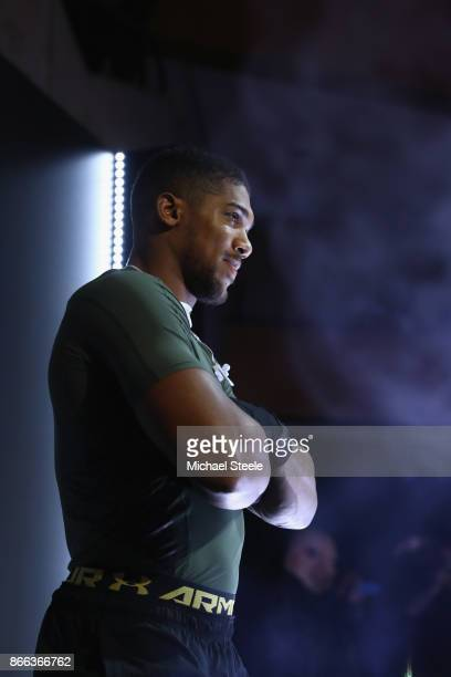 Anthony Joshua at a public work out ahead of his world title fight against Carlos Takam at St David's Hall on October 25 2017 in Cardiff Wales