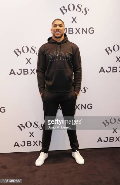 Anthony Joshua attends the unveiling of the BOSS x AJBXNG second capsule collection at BOSS Store, Regent Street, on February 24, 2021 in London,...