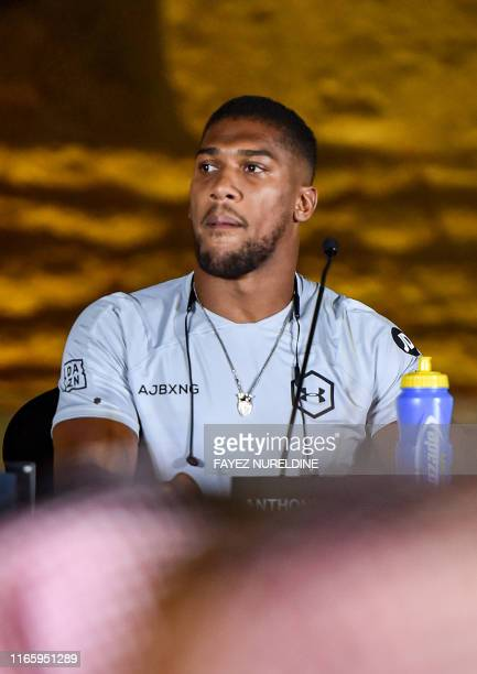 Anthony Joshua British boxing challenger to the heavyweight champion gives a press conference ahead of the upcoming Clash on the Dunes fight between...