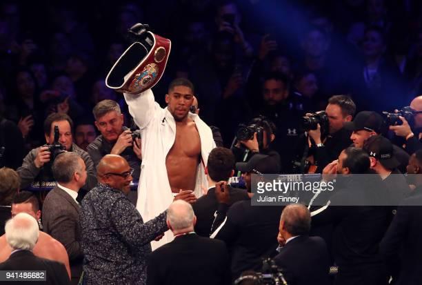 Anthony Joshua celebrates his points win over Joseph Parker after there WBA IBF WBO IBO Heavyweight Championship title fight at Principality Stadium...