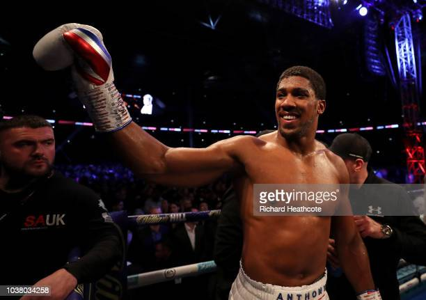 Anthony Joshua celebrates victory after the IBF WBA Super WBO IBO World Heavyweight Championship title fight between Anthony Joshua and Alexander...